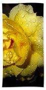 Rain Soaked Yellow Rose Beach Towel