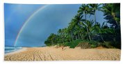 Rainbow At Pipeline, North Shore,  Beach Towel
