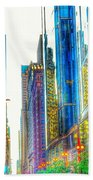Rainbow Cityscape Beach Towel