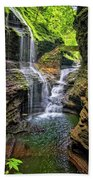 Rainbow Falls In Watkins Glen Beach Towel