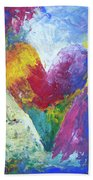 Rainbow Heart In The Cloud Acrylic Paintings Beach Towel