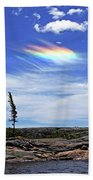 Rainbow In The Clouds Beach Towel