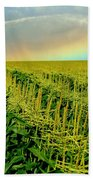 Rainbow Over The Cornfields Beach Towel