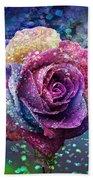 Rainbow Rose In The Rain Beach Sheet