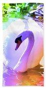 Rainbow Swan Beach Towel