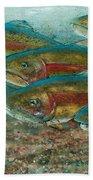 Rainbow Trout Fish Run Beach Towel by Jani Freimann