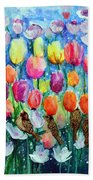 Rainbow Tulips Beach Towel