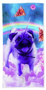 Rainbow Unicorn Pug In The Clouds In Space Beach Towel