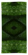 Raindrops On Green Leaves Collage Beach Towel
