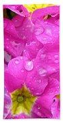 Raindrops On Pink Flowers 2 Beach Sheet