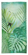 Rainforest Tropical - Philodendron Elephant Ear And Palm Leaves W Botanical Butterfly Beach Towel