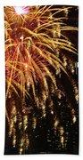 Raining Golden New Year Wishes Beach Towel
