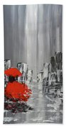 Rainy Day City Girl In Red Beach Towel