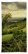 Rainy Day Hilltop View On The South Downs Beach Towel by Chris Lord