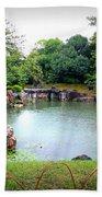 Rainy Day In Kyoto Palace Garden Beach Towel