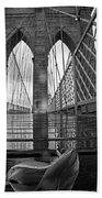 Rainy Day On The Brooklyn Bridge Brooklyn New York Tulip Petals Black And White Beach Towel