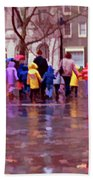 Rainy Day Rainbow - Children At Independence Square Beach Towel