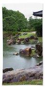 Rainy Japanese Garden Pond Beach Towel