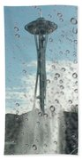 Rainy Window Needle Beach Towel