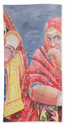 Rajasthani Ladies With Traditional Jewelry Beach Towel