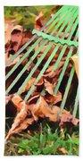 Raking The Fallen Autumn Leaves Beach Towel