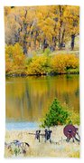 Ranch Pond In Autumn Beach Towel