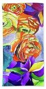 Ranunculus And Iris Beach Towel