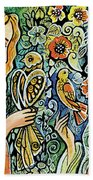 Raphael And Medieval Bird Beach Towel