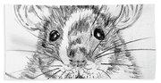 Rat Sketch Beach Towel