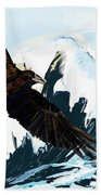 Ravens And The Stormy Sea Beach Towel