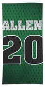 Ray Allen Boston Celtics Retro Vintage Jersey Closeup Graphic Design Beach Towel