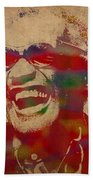 Ray Charles Watercolor Portrait On Worn Distressed Canvas Beach Towel