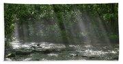 Rays Through The Trees Beach Towel