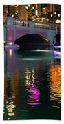 Razzle Dazzle - Colorful Neon Lights Up Canals And Gondolas At The Venetian Las Vegas Beach Towel