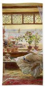 Reading By The Window Beach Towel by Charles James Lewis