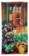 Ready To Water The Garden Oil Painting Beach Towel