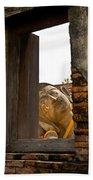 Reclining Buddha View Through A Window Beach Towel