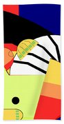 Reclining Nude In Blue And Red Beach Towel
