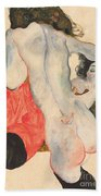Reclining Woman In Red Trousers And Standing Female Nude Beach Towel by Egon Schiele