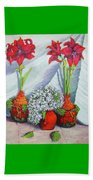 Red Amayrillis Beach Towel
