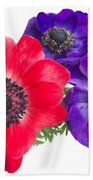 Red And Blue Anemone Flowers  Beach Towel
