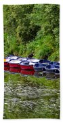 Red And Blue Boats On The River Coquet Beach Towel