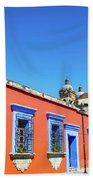 Red And Blue Colonial Architecture Beach Towel
