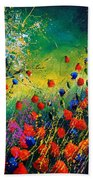 Red And Blue Poppies  Beach Towel
