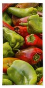 Red And Green Peppers Beach Towel