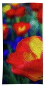Red And Orange Tulips Beach Towel