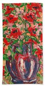 Red And Pink Poppies. Beach Towel