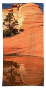Red And White Reflections In Blue Beach Towel