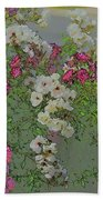 Red And White Roses  Medium Toned Abstract Beach Towel