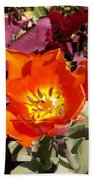 Red And Yellow Flower Beach Towel